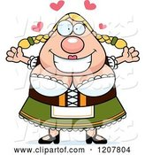 Vector of Cartoon Loving Chubby Oktoberfest German Lady by Cory Thoman