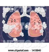 Vector of Cartoon Lungs Mascot Coughing with Smoke by BNP Design Studio