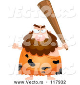 Vector of Cartoon Mad Caveman Holding up a Club by Cory Thoman