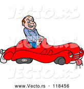 Vector of Cartoon Mad Male Driver in a Sick Broken down Car by LaffToon