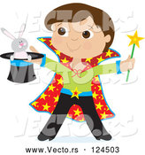 Vector of Cartoon Magician Boy Holding a Rabbit in a Hat by Maria Bell