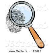Vector of Cartoon Magnifying Glass Zooming in on a Fingerprint by Hit Toon