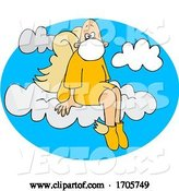 Vector of Cartoon Male Angel Sitting on a Cloud and Wearing a Mask by Djart