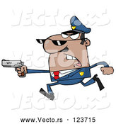 Vector of Cartoon Male Black Police Officer Running with a Gun by Hit Toon