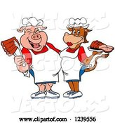 Vector of Cartoon Male Chef Pig Holding Ribs and Female Chef Cow Holding Brisket by LaffToon