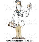 Vector of Cartoon Male Doctor Wearing a Mask and Listening Through a Stethoscope by Djart