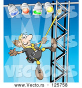 Vector of Cartoon Male Lighting Technician Setting up Lights by Holger Bogen