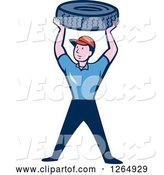 Vector of Cartoon Male Mechanic Worker Holding up a Tire by Patrimonio