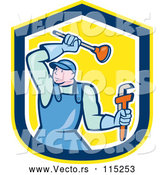 Vector of Cartoon Male Plumber with a Plunger and Monkey Wrench in a Yellow Blue and White Shield by Patrimonio