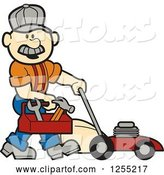 Vector of Cartoon Male White Handyman with a Tool Box and Lawn Mower by Andy Nortnik