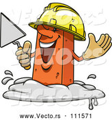Vector of Cartoon Mason Brick Character Holding a Trowel by Vector Tradition SM