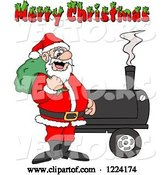 Vector of Cartoon Merry Christmas Greeting over Santa by a Bbq Smoker by LaffToon