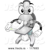 Vector of Cartoon Microscope Mascot Holding a Specimen Slide by BNP Design Studio
