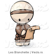 Vector of Cartoon Monk Reading Scroll Letter by Leo Blanchette
