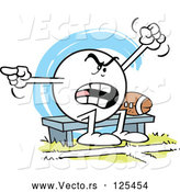 Vector of Cartoon Moodie Character Sitting by a Football on a Bench and Complaining by Johnny Sajem