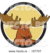 Vector of Cartoon Moose Head Emerging from a Black White and Yellow Circle by Patrimonio