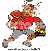 Vector of Cartoon Muscular Bull Carrying Bbq Ribs and Charcoal by LaffToon