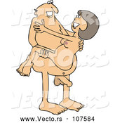 Vector of Cartoon Naked White Guy Carrying a Lady by Djart