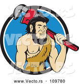 Vector of Cartoon Neanderthal Caveman Plumber Holding a Monkey Wrench over His Shoulder in a Blue and White Circle by Patrimonio