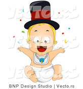 Vector of Cartoon New Years Baby Boy Throwing Confetti into the Air by BNP Design Studio