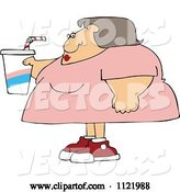Vector of Cartoon Obese Lady Holding a Fountain Soda by Djart