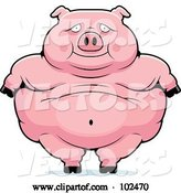 Vector of Cartoon Obese Pig Standing by Cory Thoman