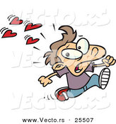 Vector of Cartoon of Love Hearts Trying to Attack a Boy Running Scared by Toonaday