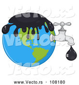 Vector of Cartoon Oil Drop Leaking from a Faucet from Planet Earth by Hit Toon