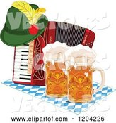 Vector of Cartoon Oktoberfest German Hat on an Accordion with Beer Mugs by Pushkin