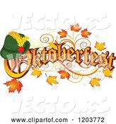 Vector of Cartoon Oktoberfest Text with a German Hat, over Autumn Leaves by Pushkin