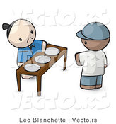 Vector of Cartoon Oriental Guy Serving 3 Plates to a Customer by Leo Blanchette
