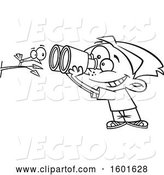 Vector of Cartoon Outline Boy Viewing a Bird up Close with Binoculars by Toonaday