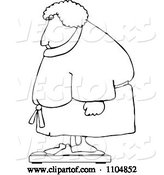 Vector of Cartoon Outlined Chubby Lady in a Robe Standing on a Scale by Djart