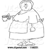 Vector of Cartoon Outlined Chubby Lady Wearing an Apron and Holding a Tea Cup by Djart