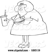 Vector of Cartoon Outlined Overweight Lady Carrying a Soda and Hamburger by Djart