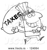 Vector of Cartoon Outlined Uncle Sam Carrying a Taxes Sack by Hit Toon