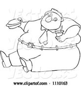 Vector of Cartoon Outlined Unhealthy Obese Guy Eating a Hamburger and Holding a Soda by Djart
