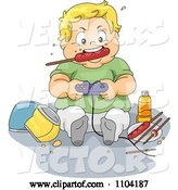 Vector of Cartoon Overweight Blond Boy Eating a Sausage and Playing Video Games by BNP Design Studio