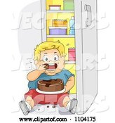 Vector of Cartoon Overweight Blond Boy Eating Cake in Front of a Refrigerator by BNP Design Studio