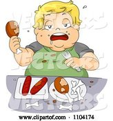 Vector of Cartoon Overweight Blond Boy Eating Chicken and Hot Dogs by BNP Design Studio