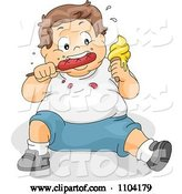 Vector of Cartoon Overweight Brunette Boy Eating Ice Cream and a Hot Dog by BNP Design Studio