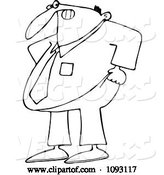 Vector of Cartoon Overweight Business Man Trying to Pull His Pants up over His Belly by Djart