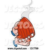 Vector of Cartoon Pair of Hands Holding Hot Saucy Bbq Ribs by LaffToon