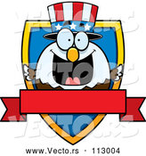 Vector of Cartoon Patriotic American Blad Eagle Shield and Blank Banner by Cory Thoman