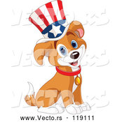 Vector of Cartoon Patriotic Puppy Wearing an American Top Hat by Pushkin