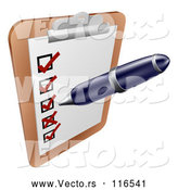 May 3rd, 2018: Vector of Cartoon Pen Checking on Items on a Clipboard by AtStockIllustration