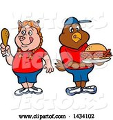 Vector of Cartoon Pig Girl Holding a Drumstick and Chicken Boy with a Pulled Pork Sandwich by LaffToon