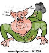 Vector of Cartoon Pig Soldier Doing Pushups by LaffToon