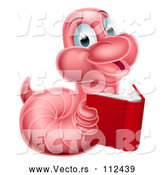 Vector of Cartoon Pink Earthworm Holding a Book by AtStockIllustration