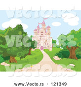 Vector of Cartoon Pink Fairy Tale Castle and Grounds by Pushkin